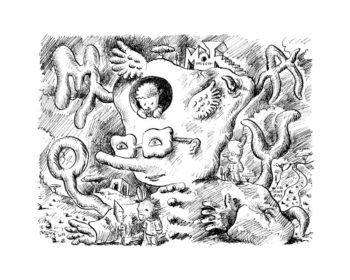 Une estampe de Patrick Moya, édité par la revue Lou Can.
