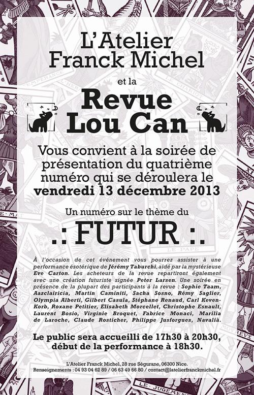Affiche de la soirée de présentation du quatrième numéro de la revue Lou Can à l'Atelier Franck Michel à Nice.