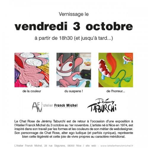 Vernissage de l'exposition de Jérémy Taburchi et de son Chat Rose à Nice