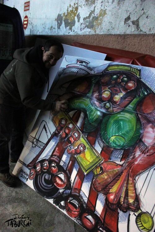 Laurent Bosio en train de réaliser une oeuvre