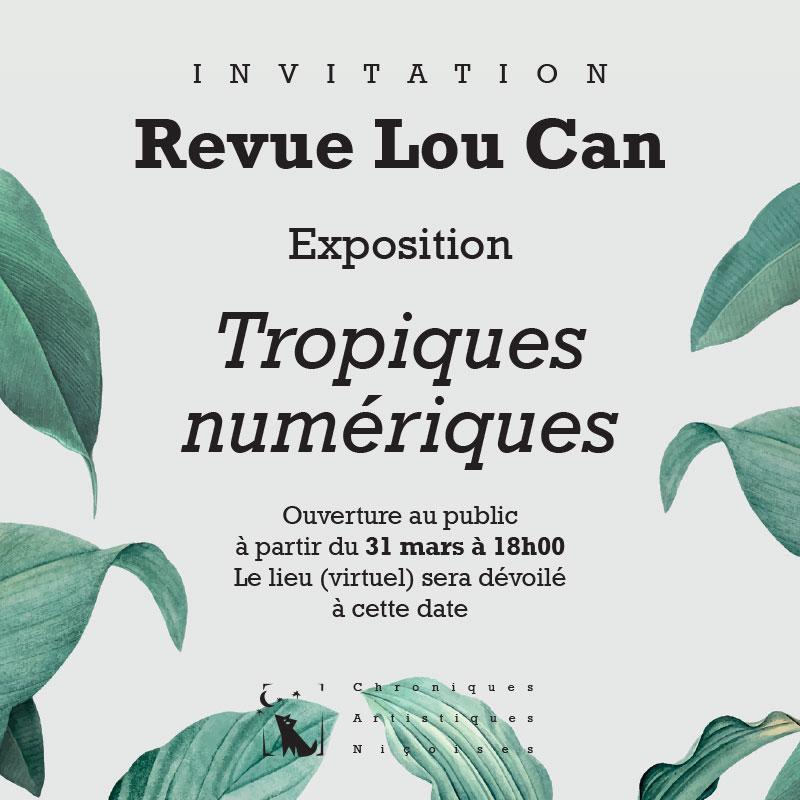 """Exposition """"Tropiques numériques"""" des artistes de la revue Lou Can"""